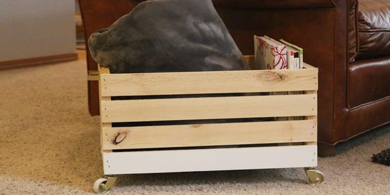 DIY Wood Blanket Box on Wheels