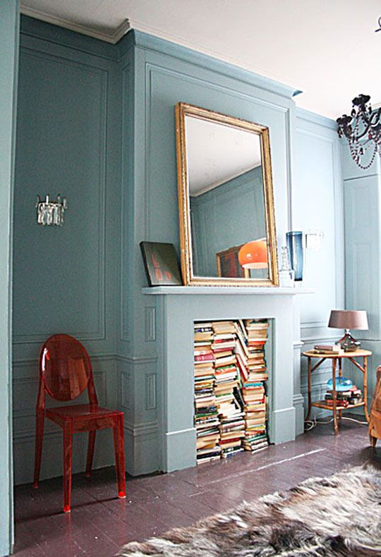 Decorating a non-working fireplace -- books!