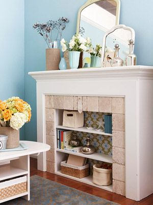 Decorating a non-working fireplace -- bookshelf for display