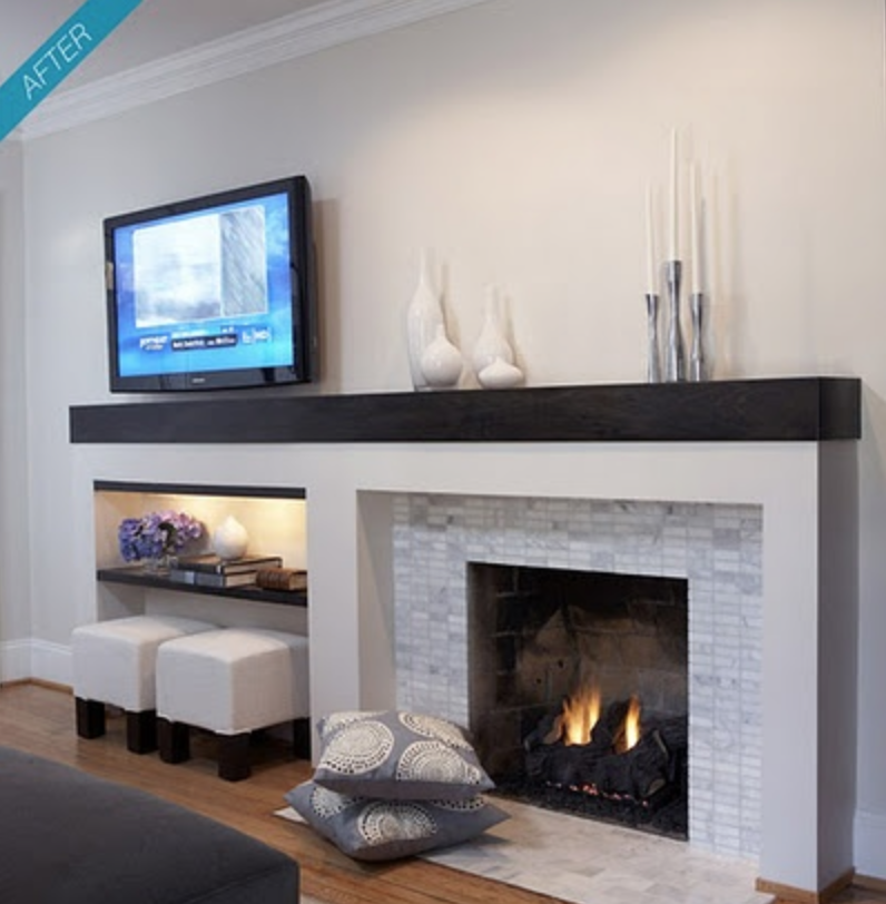 Decorating Around Fireplace remodelaholic | decorating around an off-center non-functional