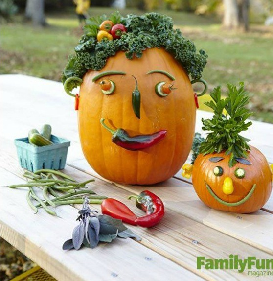 Halloween Veggie Pumpkin Heads Idea Via remodelaholic.com great DIY outdoor Halloween Decorations