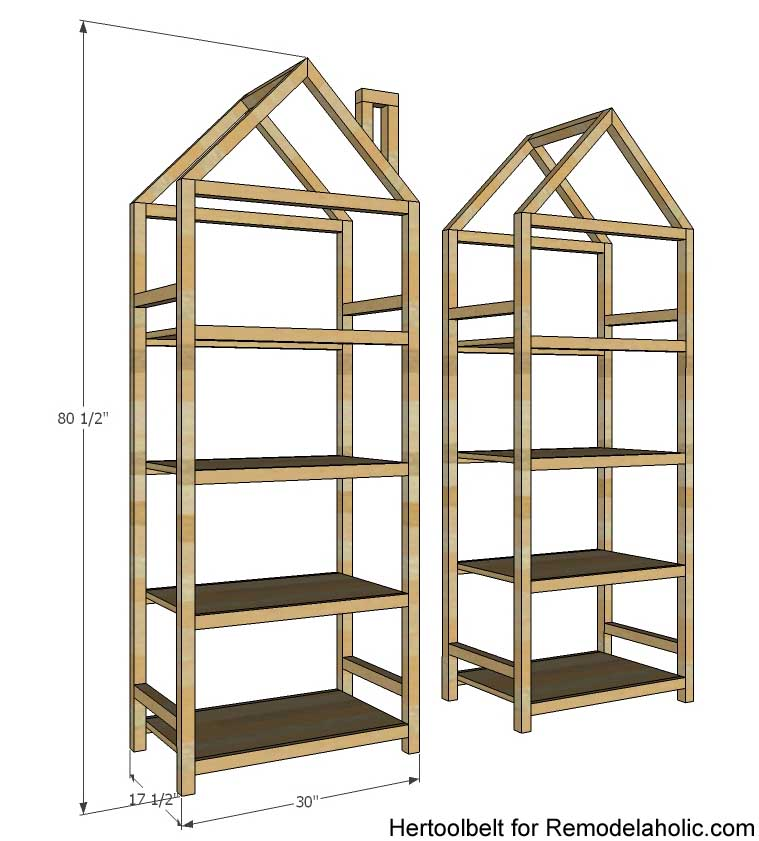 Get organized with these adorable house frame bookshelves. Free and easy  plans to build a