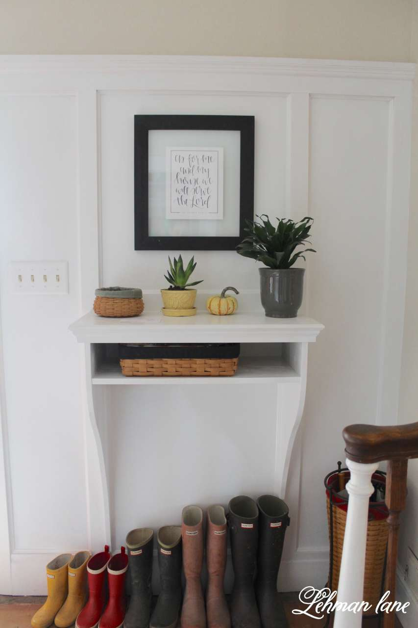Entry Table With Storage remodelaholic | diy built-in entryway table with board and batten
