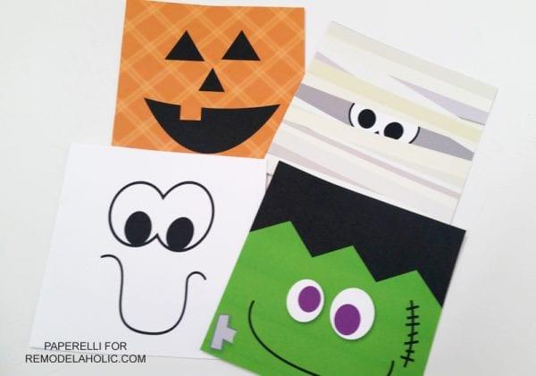 Monster Face Halloween Printable Set: jack-o-lantern, mummy, ghost, frankenstein monster