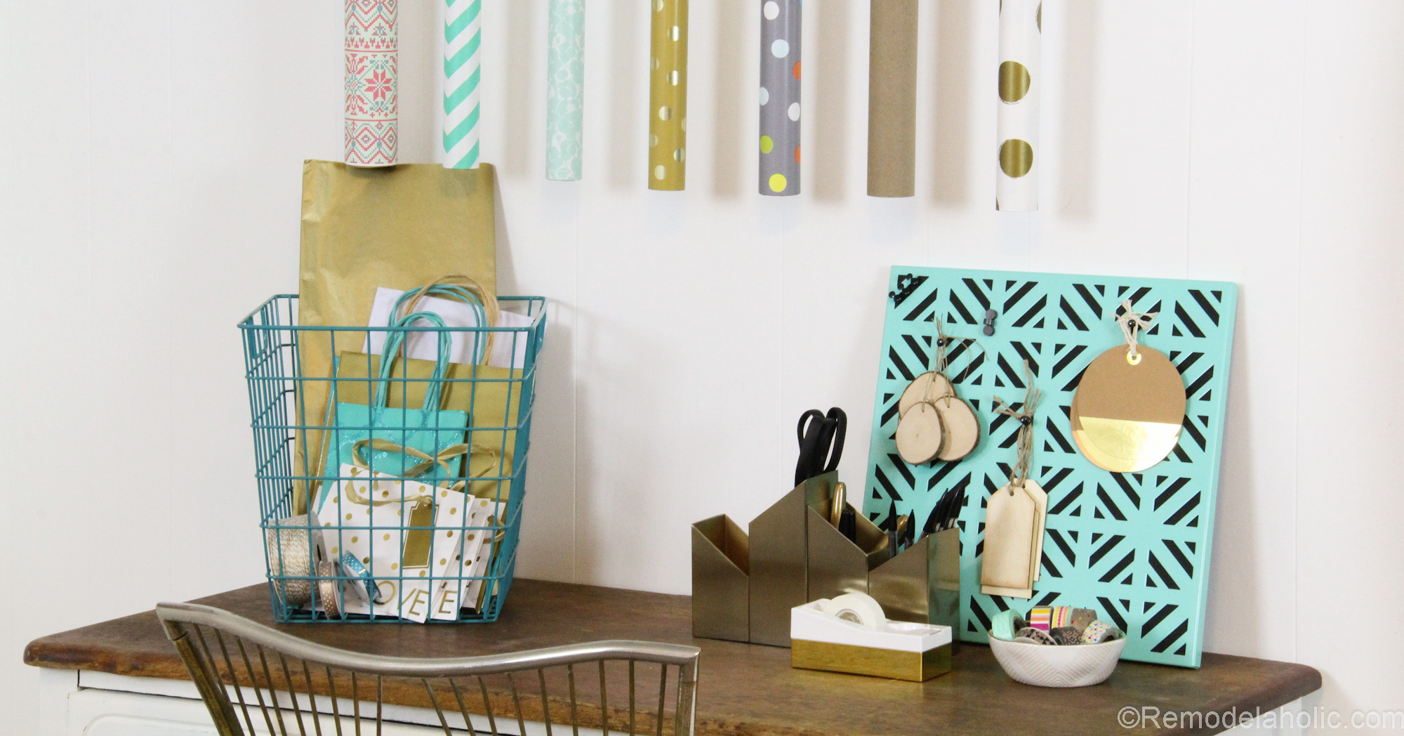 Super Easy DIY Wrapping Paper Center @remodelaholic (16 of 20)