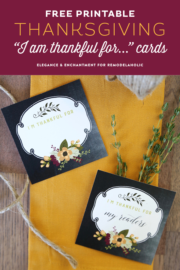 "Remodelaholic Free Printable ""I am thankful for"" Thanksgiving Cards"