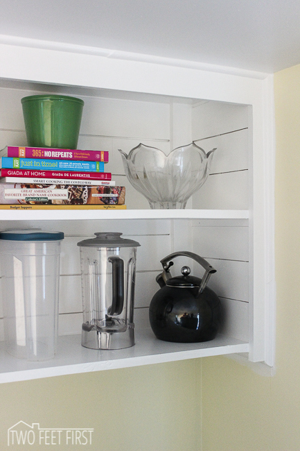 add texture to open cabinet shelving with easy planking Two Feet First