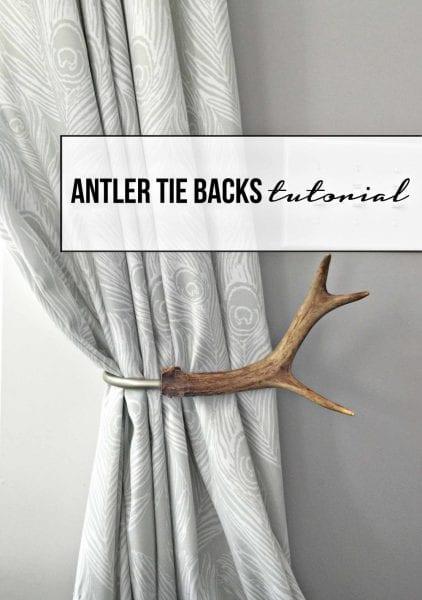 antler tie backs diy white curtains