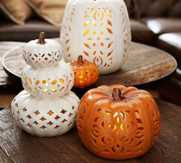 beautiful filigree ceramic pumpkins from Pottery Barn