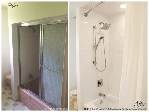 before and After Bath fitter makeover for @remodelaholic