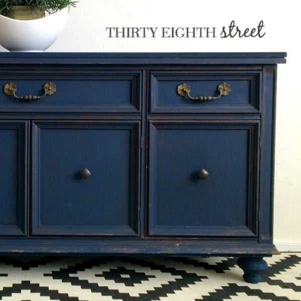 blue console makeover Thirty Eighth Street