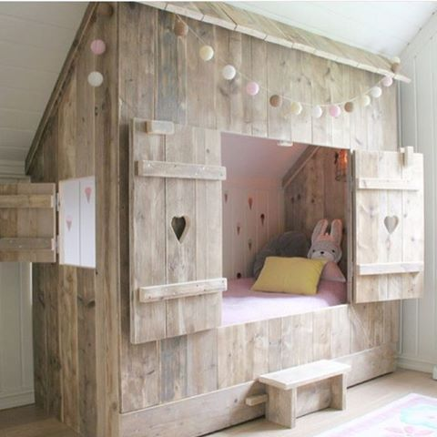 built-in cottage style house bed nook with shutters, via bestkiddos