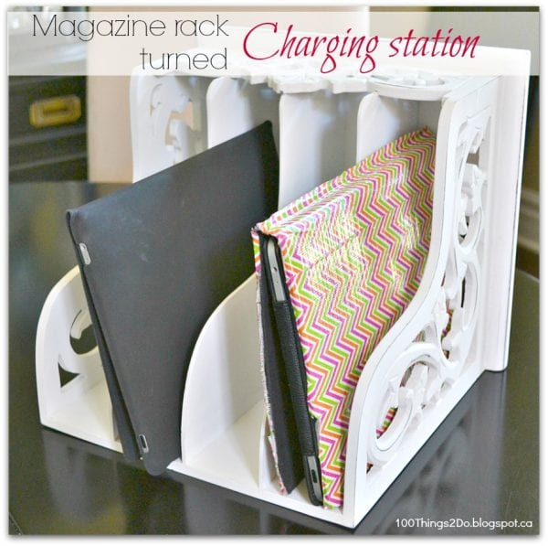diy charging station magazine rack