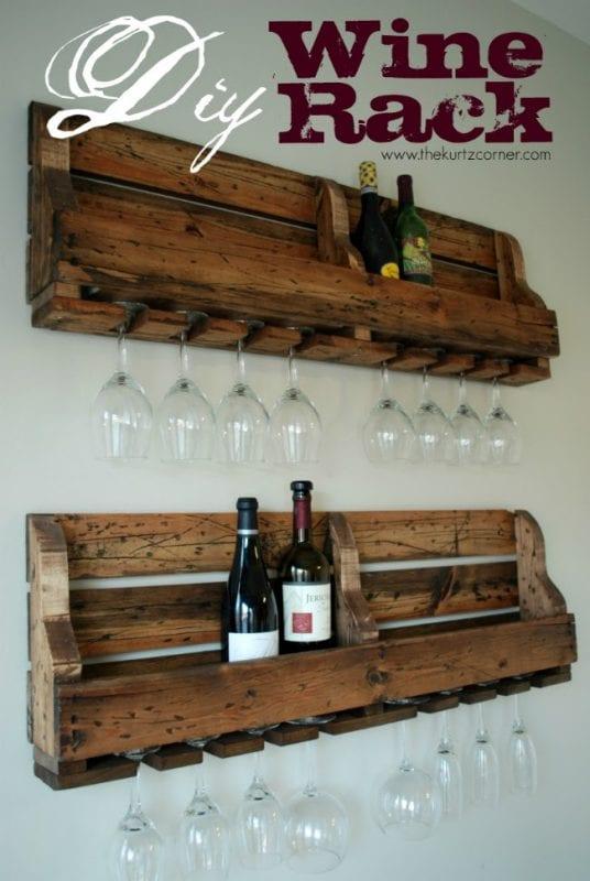 diy palette wine rack