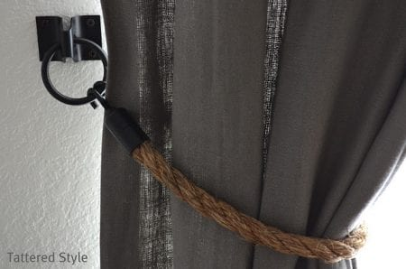 diy rope tie backs white curtains