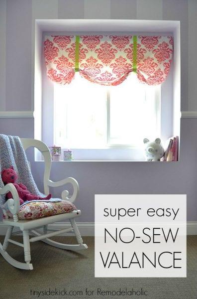 easy DIY no-sew girly window valence