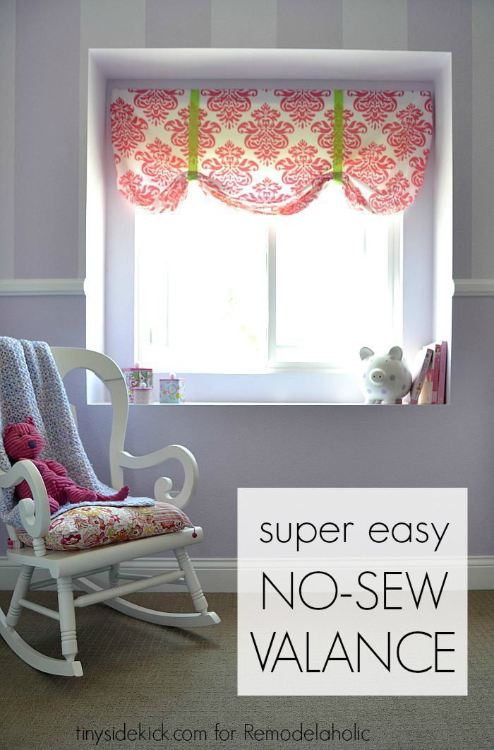 diy window valance do it yourself this extremely easy no sew window valance comes together in just 20 minutes thanks to remodelaholic easy no sew window valance from crib sheet