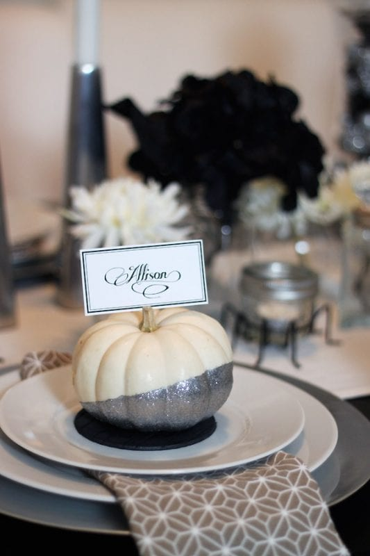 easy glittered pumpkin placecards TarynWilliford