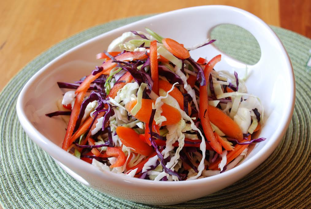 Colorful Coleslaw with Beet Juice Vinaigrette