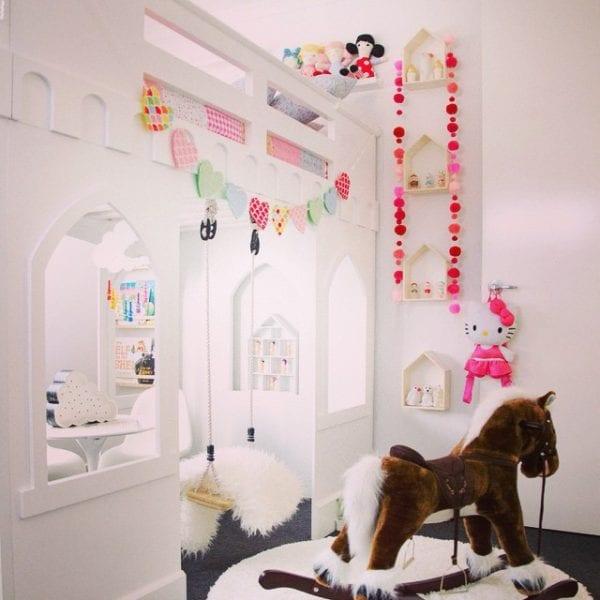 girls castle loft bed and play area via macarenanguyen
