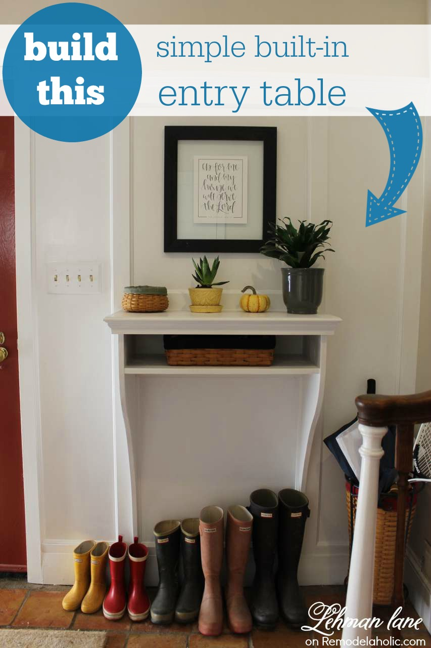 Small Entryway Table With Storage Remodelaholic  Diy Builtin Entryway Table With Board And Batten
