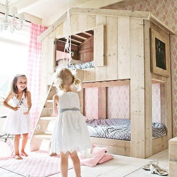 kids bunkbed playhouse loft via bestkiddos