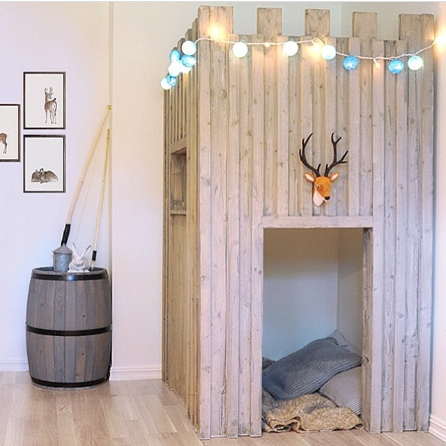 Kids Bedroom Nook remodelaholic | house-shaped beds galore