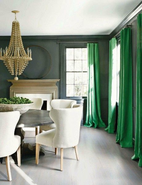 Neutral Decor Tips: neutral dining room with accent color