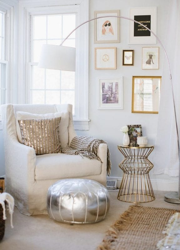 Decorating with Neutrals: neutral sitting area with metallic accents