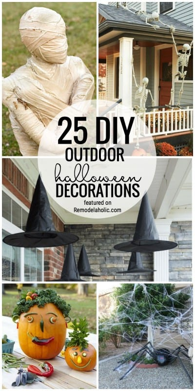 Scare your neighbors with these fantastic and creepy DIY outdoor Halloween decoration ideas. We are sharing 25 of our favorites from witches, to mummies, to spiders and more. Find these and more ideas for outdoor Halloween Decor featured on Remodelaholic.com