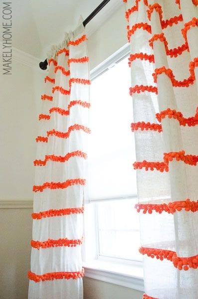 pom pom trim striped white curtains