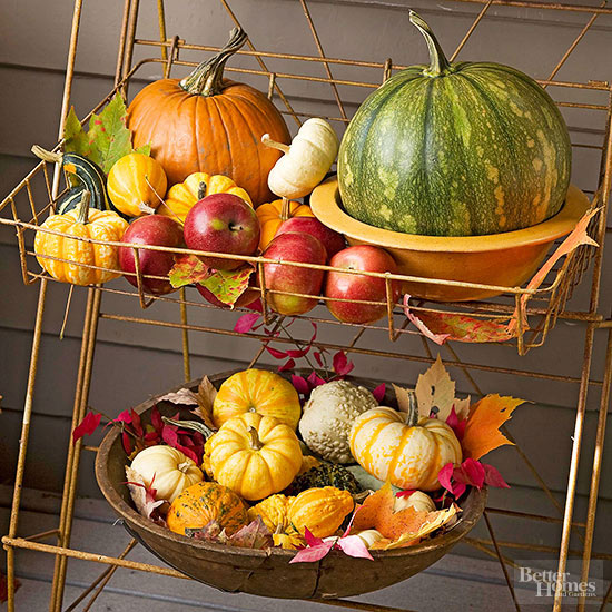 pumpkin gourd and apple basket via BHG