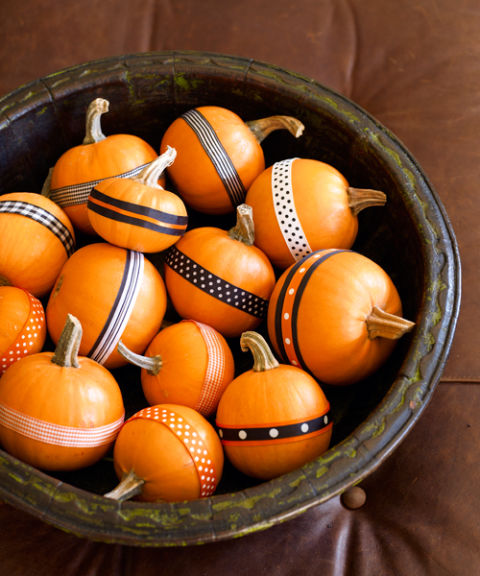 ribbon or washi tape mini pumpkins Good Housekeeping