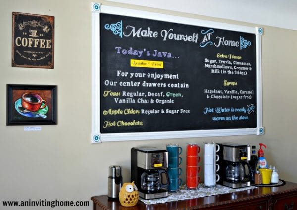 self serve bar chalkboard sign