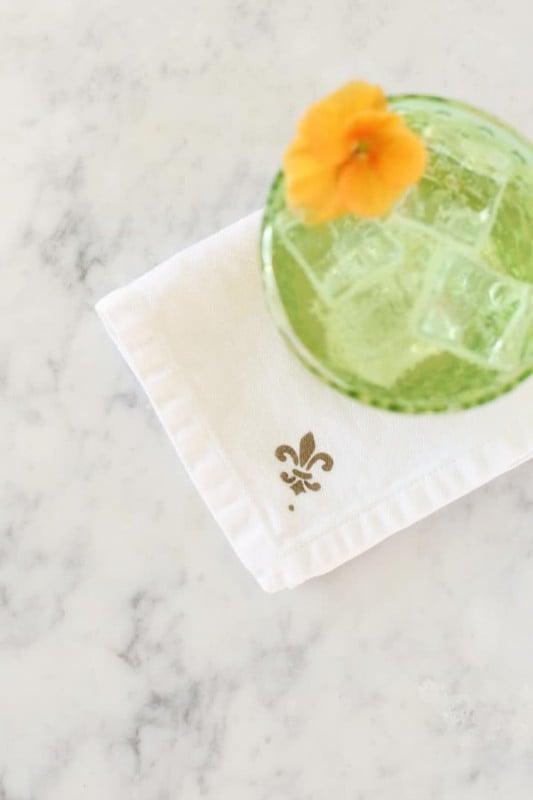 Stenciled Cocktail Napkins