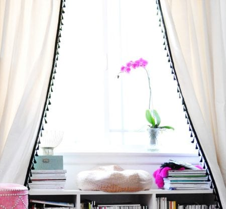 tassle fringe trim white curtains