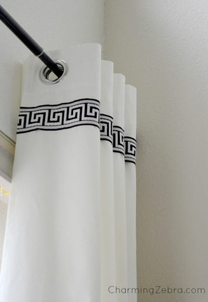thick trim top of white curtains