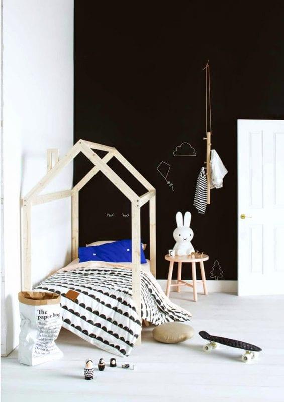 toddler bed house frame with chalkboard wall via Poppytalk