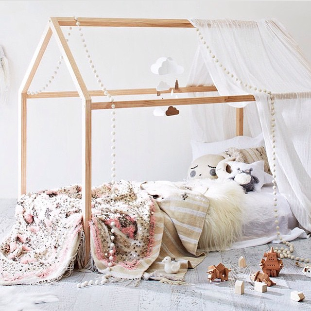 Toddler Floor Bed With House Frame And Cloud Mobile Via Piplastudio