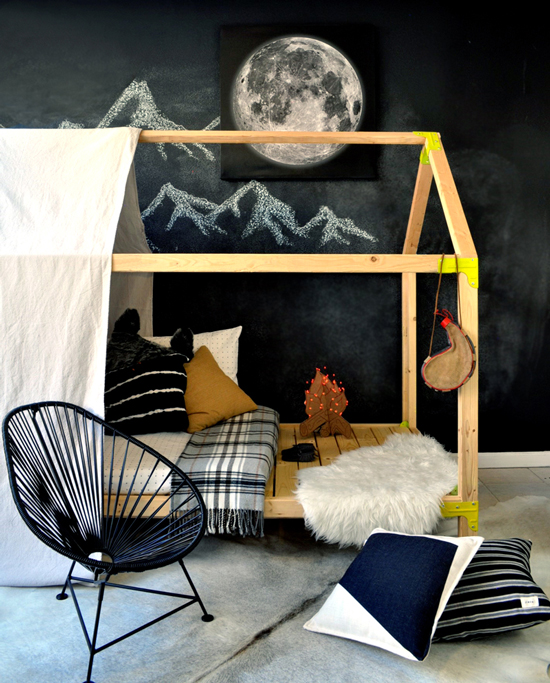 twin sized house-shaped daybed playhouse tent, The Design Confidential