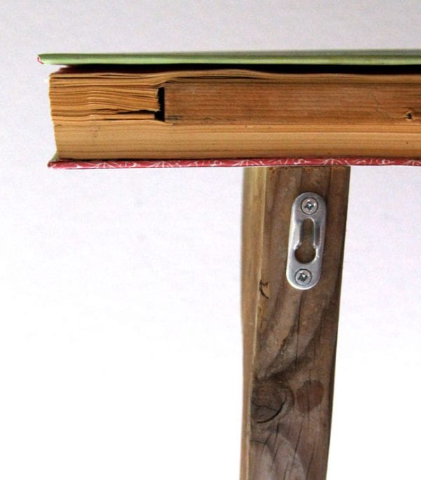 how to hang an upcycled book shelf with DIY corbels