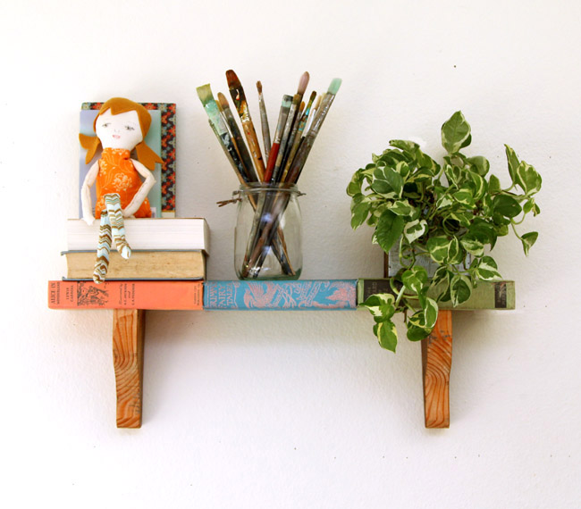 Build A Wall Display Shelf From Old Books Plus Free Printable Book Covers So