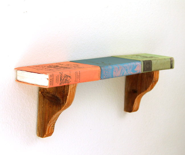 Diy Upcycled Book Shelf With Wood Corbels And Printable Book Covers