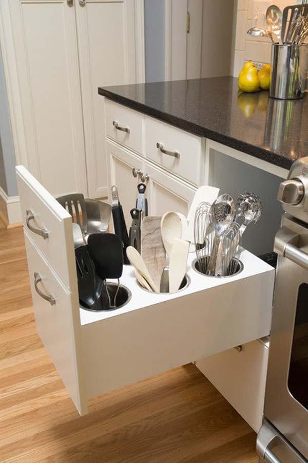 Remodelaholic diy upright utensil drawer organizer for Utensil organizer for small drawers