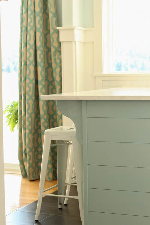 white kitchen with aqua blue planked peninsula, The Happy Housie on @Remodelaholic