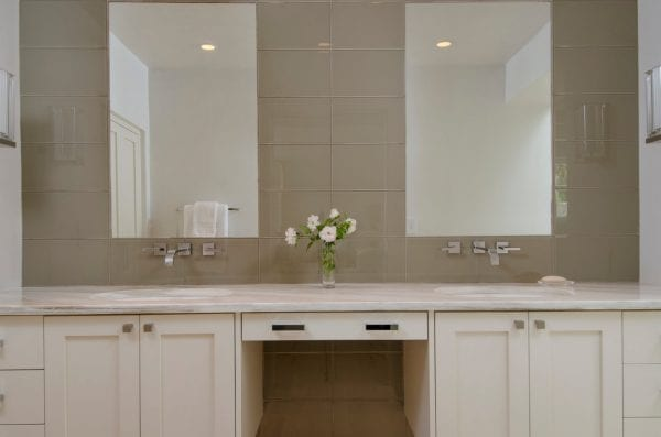 modern classic white bathroom with double sinks by Violante & Rochford Interiors, photo credit © Wendy McEahern