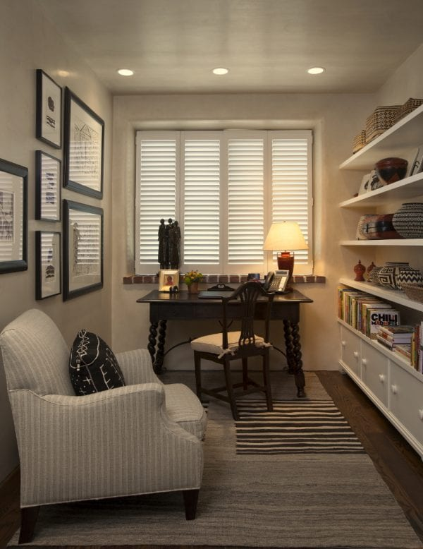 small office space with built-in wall storage by Violante & Rochford Interiors, photo credit © Wendy McEahern