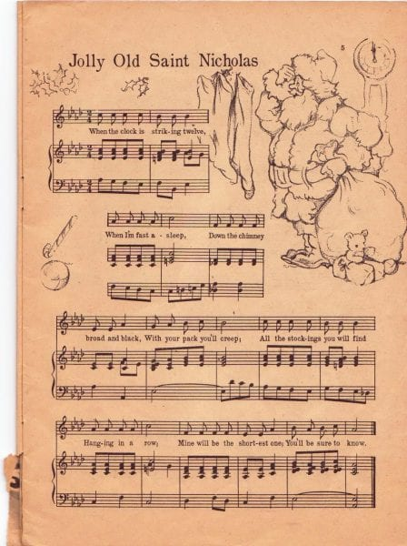 Jolly Old St Nicholas, 1958 Vintage Christmas music to print