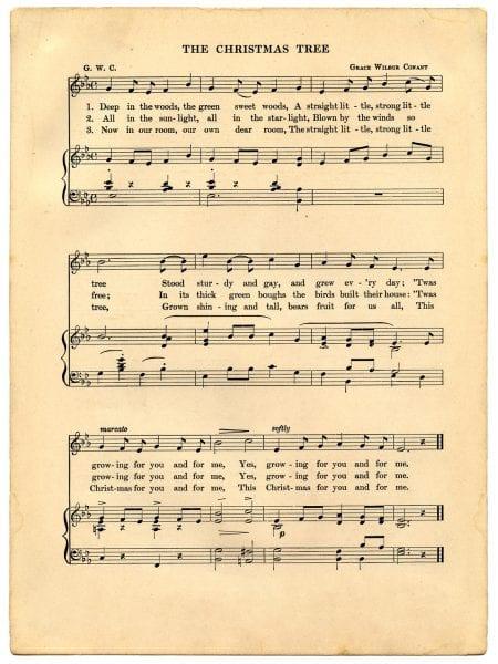 The Christmas Tree printable vintage Christmas music