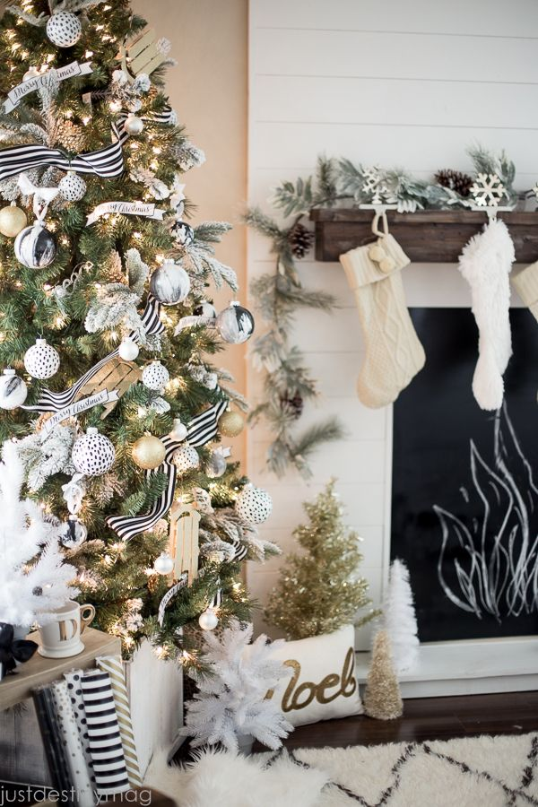 this gold christmas is so beautiful love the mantel and the faux fireplace